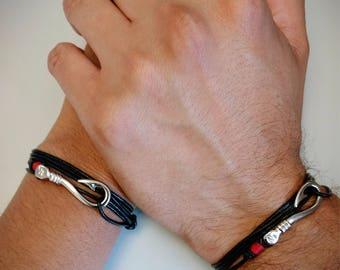 Bracelet for couples, love bracelet, hook, red thread, leather bracelets, red bracelets, hook,