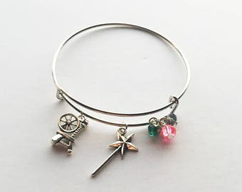 Aurora / The Sleeping Beauty / Sleeping Beauty / Briar Rose / Fairy Godmother Inspired Charm Bracelet