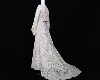 1880s Brussels Lace Wedding Dress Ensemble - SOLD