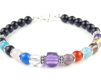 AA Jewelry Sobriety Bracelet Recovery Jewelry AA Anniversary Gifts Black Onyx AMETHYST February