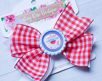 Summer bbq grill hair clip - hair bow - barbecue bow - cookout - red plaid - white - summertime - summer bow