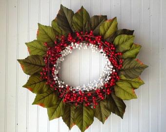 Christmas wreath, wreath for christmas, red wreath, modern wreath, door wreath, front door wreath, berry wreath, christmas decor