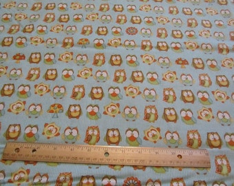 Blue Striped Owl Wooldland Cotton Fabric by the Yard