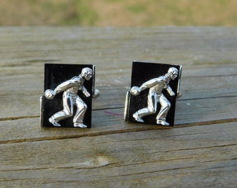 Vintage Black And Chrome Bowling Swank Cufflinks dr47