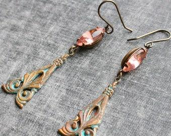 Patina Pink Earrings Long Earrings Elegant Statement Patina Earrings Art Nouveau