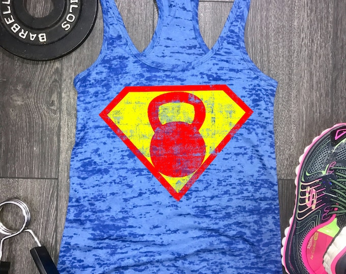 Featured listing image: Superhero Kettlebell tank, womens workout tank, workout tank womens, womens gym tank, gym tank womens,kettlebell tank, best workout tank