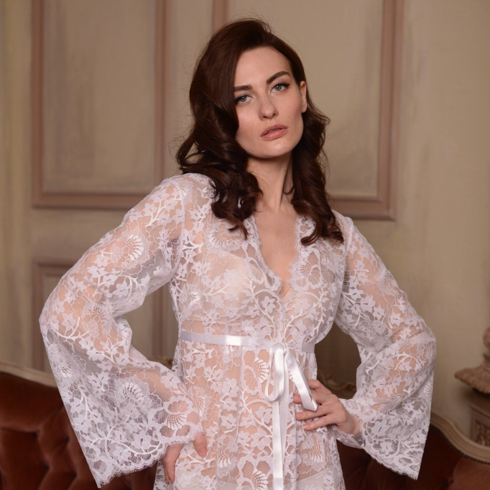 Long Lace Bridal Robe F3 White Lace Tie Front Nightgown