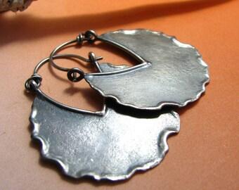 Large Silver Hoop Earrings, Fire Walker Rustic Earrings, Big Sterling Silver Hoops Argentium Earrings, Silversmith Jewelry, Artisan Jewelry