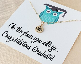 Graduation gift for her high school graduation gift for her daughter niece friend college graduation gift compass necklace graduate gift