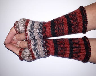 Knit Fingerless gloves - Arm warmers - Wrist warmers - Long Fingerless Mittens - womens fingerless - Hand warmers Ready to ship