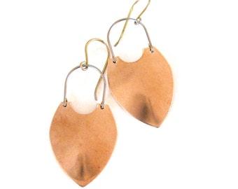 Bronze shield dangle earrings with niobium hypoallergenic ear-wires