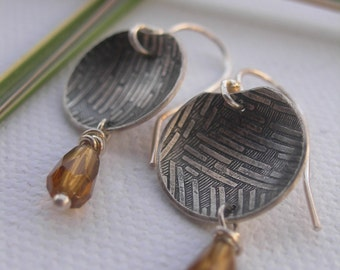Rice Bowl Textured Silver Earrings
