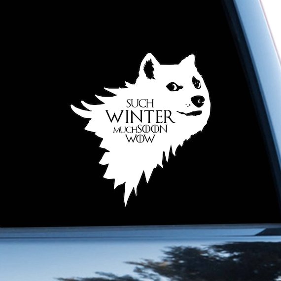 Game of thrones car sticker dog car decal dire wolf doge meme bumper sticker logo bumper decal window sticker starks winter jon snow m1178