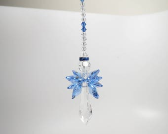 Angel Swarovski Crystal Suncatcher, Swarovski Suncatcher, Sepember Birthstone, Guardian Angel, Sapphire Angel, Keira's Crystal Creations