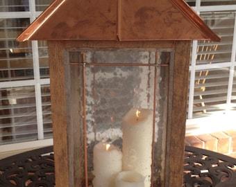 Rustic Reclaimed Wood Copper Lantern - Large Lantern