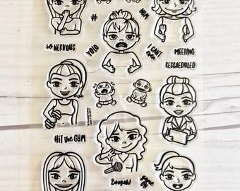 planner stamps, planner stamp sets, girl planner stamps, bullet journal stamps, planner icon stickers,  MojiGirls, starving artistamps, C-V2
