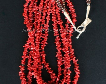 Italian Mediterranean Coral Cupolini 5-Strand Necklace with Fire Polished Glass, Bronze Nugget Pearls and Sterling Silver