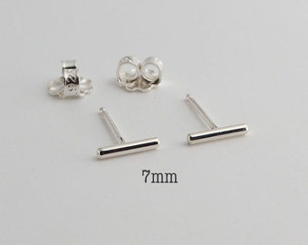 7mm Tiny Bars, Silver Bar Earrings, Bar Studs, Sterling Studs, Handmade Studs, Bar Studs, Silver Stick, Line Earrings 7 x 1.3mm