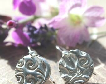 Fine silver botanical circle earrings, silver nature earrings, silver nature jewellery, handmade botanical earrings