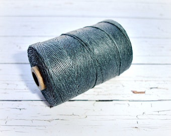 4 ply Irish Waxed Linen Cord Charcoal Grey - 1 Yard