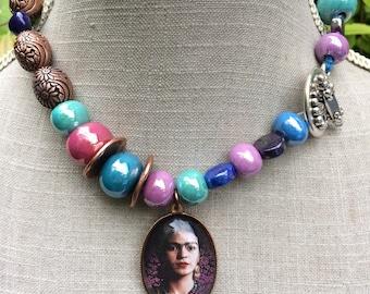 "Rustic ethnic necklace colorful Frida Kahlo, ceramic beads and brass, ""Frida""."