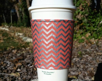 Coffee cozies / fabric coffee cozy / coffee sleeve / coffee cup holder -- Salmon Coral Orange and Silver Chevron