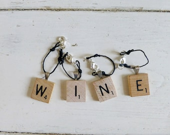 Game tile wine glass charms, wine markers, hostess gift, hand beaded, set of four, housewarming gift, wedding present, gift idea