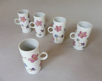 Pink, Purple and Blue Flower  Mugs