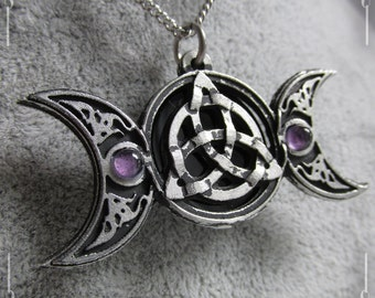 Triple moon and triquetra pendant, celtic knot pendant with moon crescents, amethyst and onyx