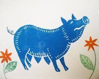 Blue Pig, original linocut and applique card