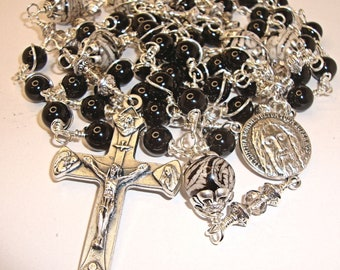 Catholic rosary, black onyx rosary, Shroud of Turin, Jesus, 4 way cross, gemstone rosary, Abundant Grace Rosaries, Indylin, free shipping