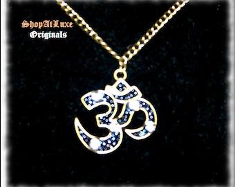 Jewelers Antique Bronze OM Aum Crystal Embellished Pendant With Antique Bronze Necklace