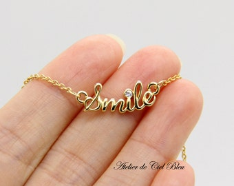Smile Necklace, Gold Smile Necklace, Smile Pendant Necklace, Smiley Necklace, Cursive Word Charm Necklace, Smile Word Necklace
