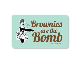 Brownies are the Bomb Rockabilly Kitchen Magnet. Gift for Baker. Gift for Mom. Gift for Best Friend. Secret Santa Gift. Retro Kitchen Magnet