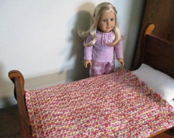 """Hand-crocheted lavender, white, yellow and pink Afghan Blanket for 18"""" American Girl Dolls"""