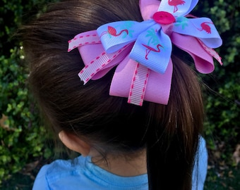 Pink Flamingo stacked boutique bow