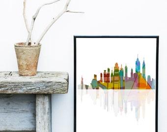 New York City, Printable Art, New York Skyline, New York Poster,  City skyline, Wall Decor, Wall Art, digital Download, Wall art Prints