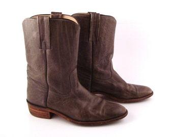 Frye Cowboy Boots Vintage 1970s Gray Leather Boots Men's 10 1/2 B