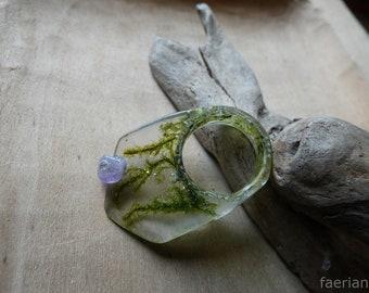 Micro garden resin with amethyst ring 16 mm diameter