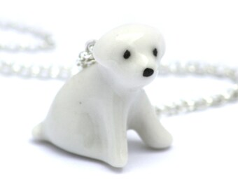 puppy dog necklace, handmade in porcelain