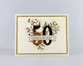 50th Wedding Anniversary Card - Golden Anniversary Card - Hand Stamped Card - Stampin' Up! Card - Greeting Card - Handmade Card - Heart Card