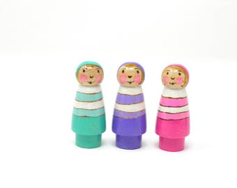 Fairy Bugs, set of 3, wooden peg doll, waldorf fairy toy, wooden kids toy, handmade kids toy, Spring kids toy, fairy toy,