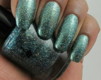 Sale* Tranquil Teal Dazzler - teal glitter polish, blue glitter polish, green glitter polish