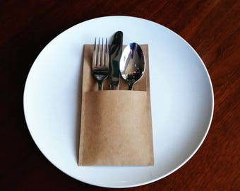 20x Kraft Paper Silverware Pouch/Holder for Weddings, Engagements, Parties, Celebrations etc.