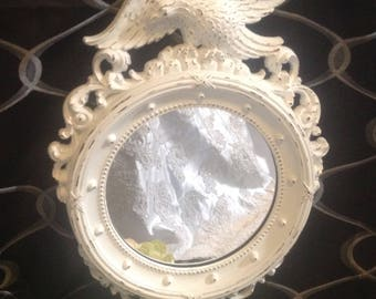 Porthole Mirror American Eagle Federal Style Ornate Vintage 1959 Hand Painted  White Upcycled Round Mirror Colonial Americana