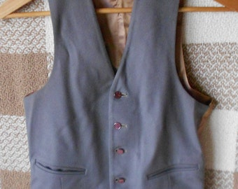 VINTAGE WOOL VEST, unisex, gray, pockets, silky rayon, purple buttons, small size