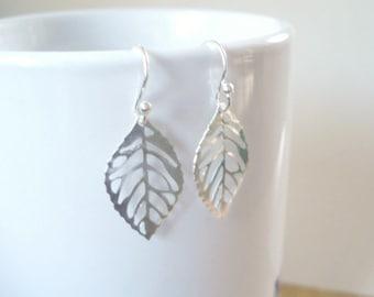 Silver Leaf Earrings Small Silver Lightweight Earrings Leaf Earrings Drop Leaf Earrings Leaf Jewelry
