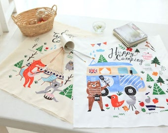 Cotton Fabric Camping in 2 Colors By The Cut