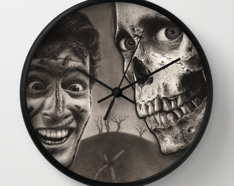 Evil Dead 2 Drawing - Wall Clock (with Bruce Campbell as Ash with Skull Horror Art)