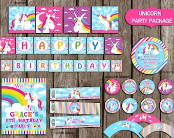 Unicorn Party Package PERSONALIZED Girls, Unicorn Rainbow  Party Decorations,Unicorn Birthday, UnicornParty Supplies,DIY Party Printable